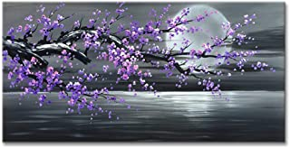 Konda Art Framed Hand Painted Modern Abstract Painting Cheery Blossom Purple Flower Canvas Art For Wall Decoration Stretched (Framed 60