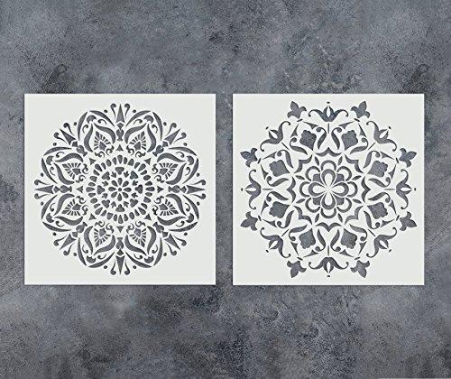GSS Designs Set mit 2 Mandala-Schablonen, 30,5 x 30,5 cm, Malerei für Holz, Wand, Möbel, Bodenfliesen, Glasgewebe, wiederverwendbare Airbrush-Vorlage (SL-013)