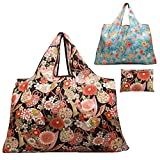 Reusable Grocery Bag, Gophra 2 Packs Large Washable Foldable Eco Friendly Nylon Heavy Duty Fits in Pocket Shopping Tote Bag (Flowers/Leaves)