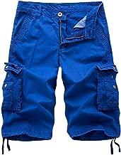Men's Pants - Limsea Multi-Pocket Versatile Twill Cargo Capri Shorts Active Normal Waist Loose