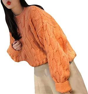 iLOOSKR Winter Warm Sweater Women Solid Knitting Pullovers Tops Long Sleeve Cute Wind Casual Sweater