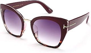 نظارات شمسية من FEISEDY بتصميم عين القطة كبيرة الحجم بإطار جلد الفهد مع علامة T معدنية رقيقة للنساء B2576