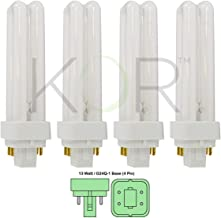 (Pack of 4) 13 Watt Double Tube - G24Q-1 (4 Pin) Base - 3500K Soft White - CFL Light Bulb. Replaces Sylvania 20671 CF13DD/E/835 - Philips 38327-3 PL-C 13W/835/4P/ALTO and GE 97596 F13DBX/835/ECO4P