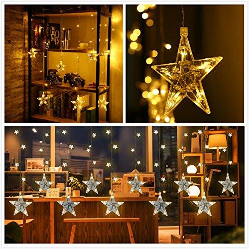 LED String Lights 7-ft 120 Star Shapped Curtain String Light Waterproof Fairy Christmas Lights Decoration with 8 Working Modes for Home Christmas Party Xmas Tree Halloween Festival and Celebration