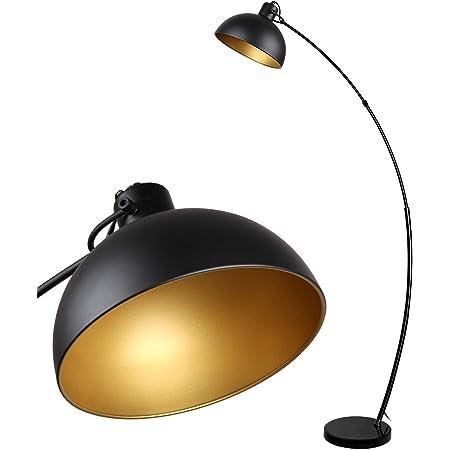 Osasy Lampadaire Arc, lampe à pied design rétro, Abat-jour réglable, 1x E27 max. 60 Watt, métal, en noir-doré,Lampadaires pour le salon, les salons,la lecture