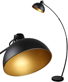 Osasy Lampadaire Arc, lampe à pied design rétro, Abat-jour réglable, 1x E27 max. 60 Watt, métal, en noir-doré,Lampadaires ...