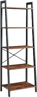YMYNY Industrial Ladder Shelf, 5-Tier Storage Unit, Bookshelf Plant Flower Stand Shelves with Metal Frame, for Living Roo...