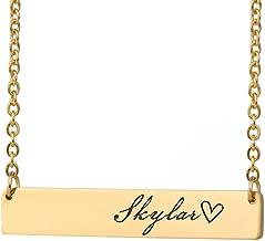 HUAN XUN Custom Bar Necklace Name Monogram Initial Name on Choker Personal Jewelry Birthday Valentine Gift