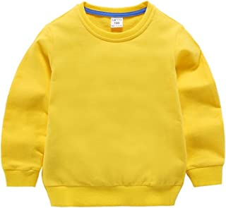 Little Boy Girl Kid Cotton Outfit Sweatshirt Long Sleeve Shirt Solid Pullover