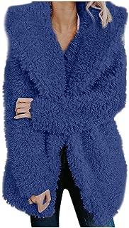 HIRIRI Women's Fuzzy Fleece Lapel Open Front Long Jackets Warm Winter Outerwear Cardigan Coat