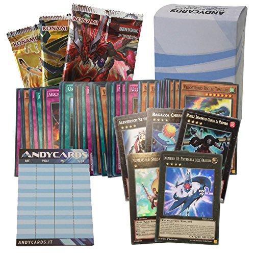 Lotto 50 carte Yu-Gi-Oh! IN ITALIANO con minimo 5 mostri XYZ dei quali 2 sono mostri Numero + 3 Buste + 1 Segnapunti Andycards