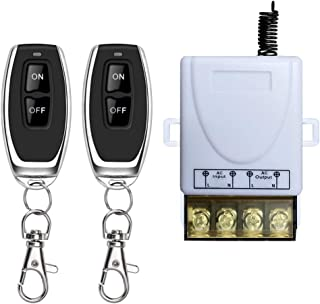 DONJON Wireless Remote Switch,AC 110V/120V/240V/ Relay RF Remote Control Light Switches for Pump Security Systems Door Curtain Gate Barriers etc with 328ft Long Range(White)
