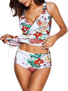 Women's Tankini Printed Two Piece Swimsuit Set Tank Top with High Waist Triangle Briefs Swimsuits Bathing Suits