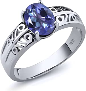 1.30 Ct Oval Purple Blue Mystic Topaz 925 Sterling Silver Ring