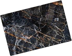 Zwart goud vergulde marmeren ogende glazen snijplank zwart vergulde marmeren op zoek glazen snijplank (Color : A)