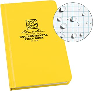 """Rite in the Rain Weatherproof Hard Cover Notebook, 4.75"""" x 7.5"""", Yellow Cover, Environmental Pattern (No. 550F)"""