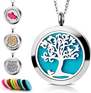Maromalife Diffuser Necklace 316L Stainless Steel Pendant Locket Essential oil Necklace Diffuser Necklace Confidence Relief Stress Gift Set For Men or Women with 10 Colors Felt Pads
