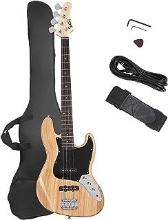 GLARRY 4 رشته GJazz گیتار باس الکتریک اندازه کامل راست دست کیسه گیتار ، سیم آمپر و کیت های مبتدی (Burly Wood)