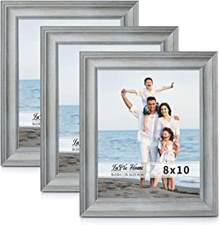LaVie Home 8x10 Picture Frames (3 Pack, Light Gray Woodgrain) Rustic Photo Frame Set with High Definition Glass for Wall Mount & Table Top Display, Set of 3 Elite Collection