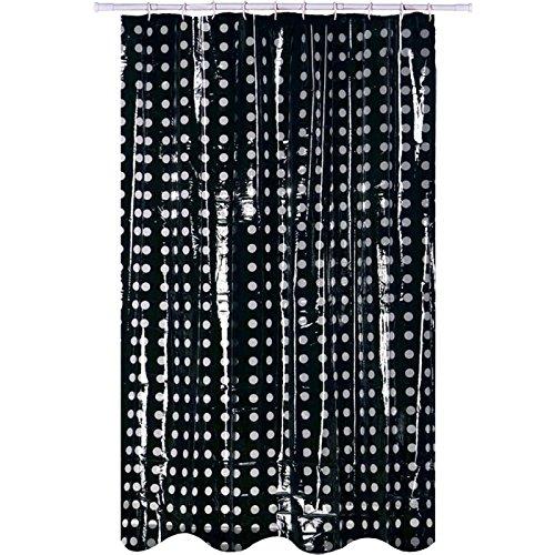 MSV Duschvorhang Pünktchen aus Polyvinylchlorid 200x180cm in schwarz/transparent, Mehrfarbig, 30 x 20 x 15 cm