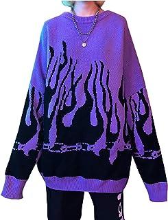Lunoakvo Women Sweater Long Sleeve Flame Bat Sleeve Jumper Oversized Casual Knitting Pullover Tops