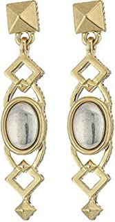 House of Harlow Goldtone Lady of Grace White Oval Stone Stud Post Drop Earrings