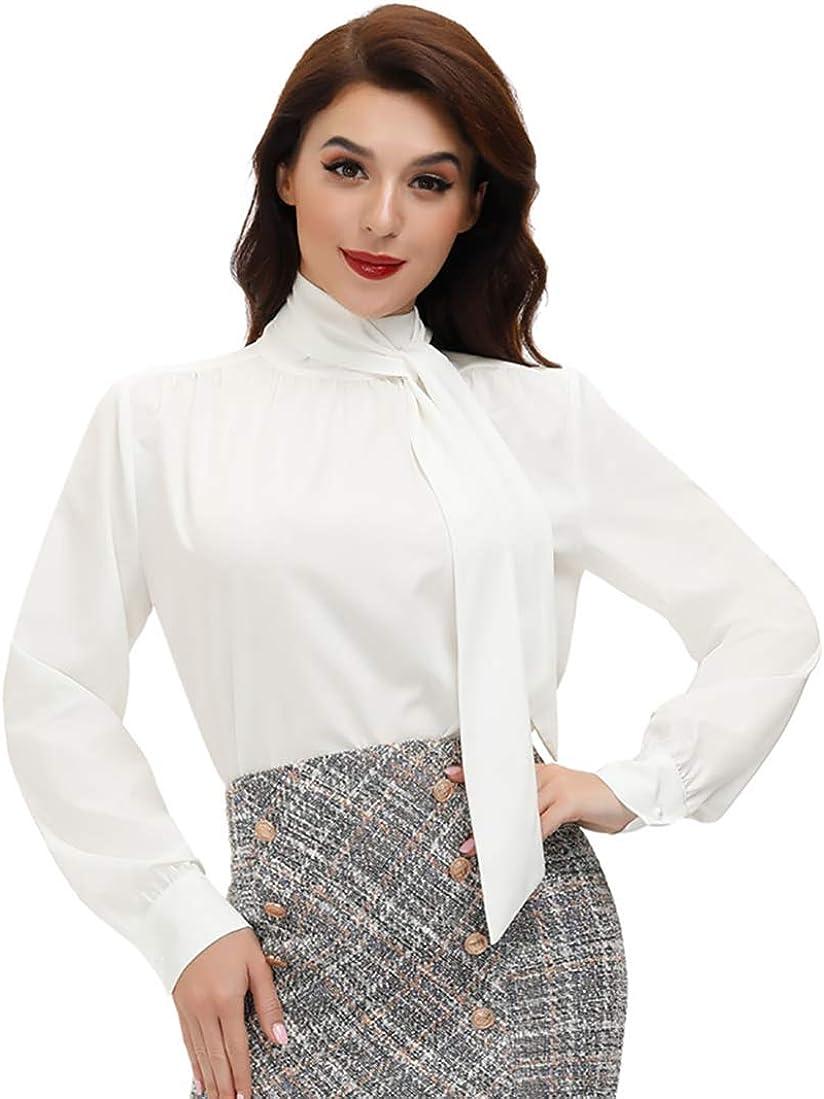 Belle Poque Women's Elegant Bow Tie Neck Long Sleeve Work Office Blouses Tops