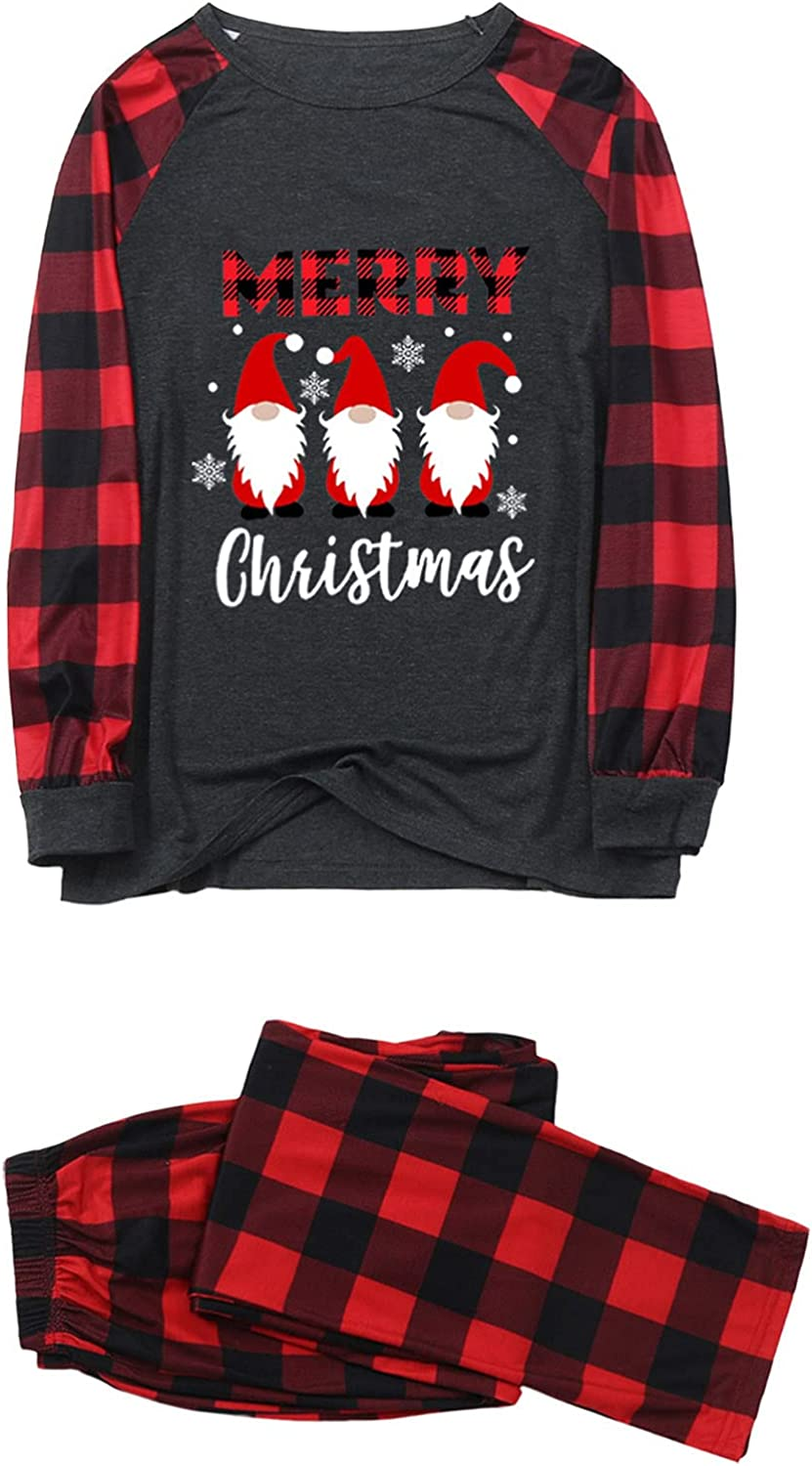 Matching Family Christmas Pajamas Set Long Sleeve Tee and Pants Loungewear Matching Sleepwear Clothes for Family