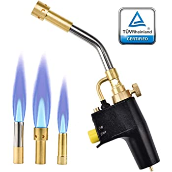SKYTOU Heat Propane Mapp Torch Multi Purpose Includes 3 Nozzles/Tips High Intensity Trigger Start Torch Heat Shrink Torch (Black)