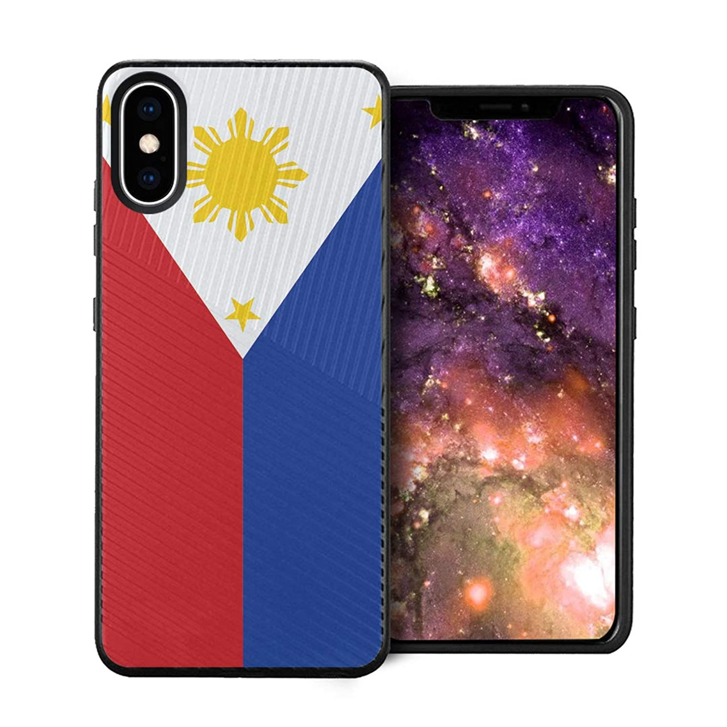 Capsule Case Compatible with iPhone Xs Max [Embossed Diagonal Lines Hybrid Dual Layer Slim Armor Black Case] for iPhone Xs Max - (Philippines Flag)