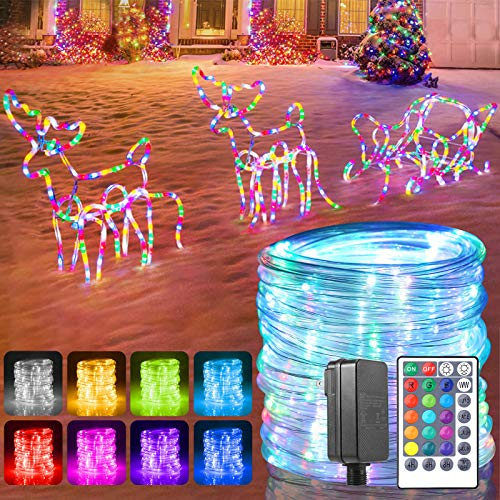 GreenClick RGB Rope Lights Outdoor, 150 LED 17 LED Rope Lights Connectable with Remote Timer Dimmable Waterproof Twinkle Tube Lights for Wedding Christmas Party Indoor Outdoor Decorations