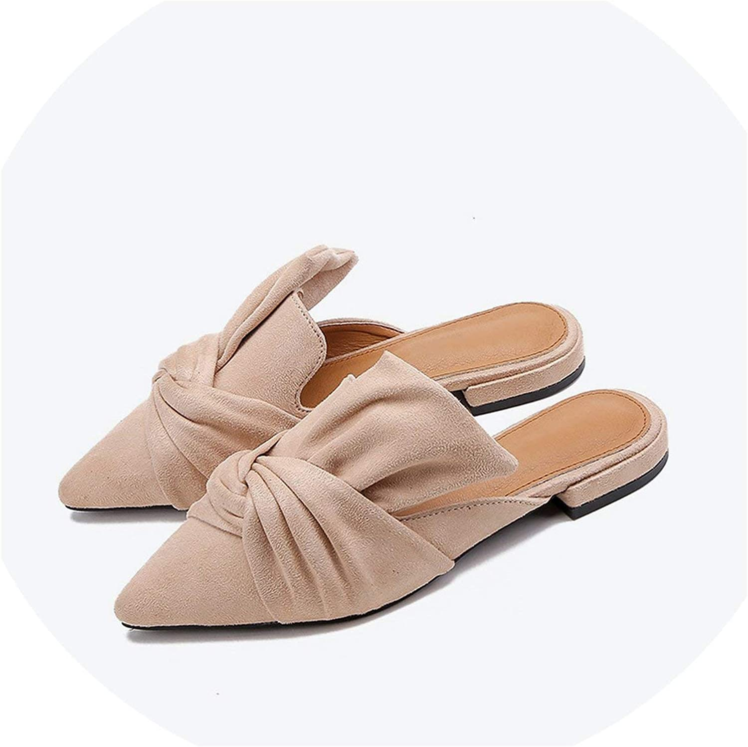 I Need-You Autumn Women Slippers Flock Bowtie Female Mules Fashion Low Heels shoes Pointed Toe Plus Size Elegant Woman Slipper,Apricot,6.5