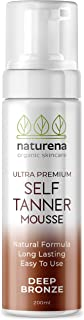 Naturena Self Tanner Tanning Mousse with Organic & Natural Ingredients, Tanning Lotion, Sunless Tanning Lotion for Darker Bronzer Skin, 6.7 Fl Oz