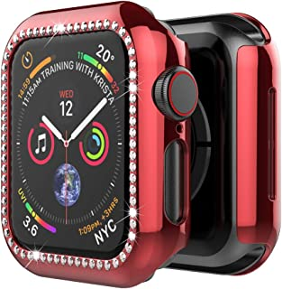 UMTELE Compatible for Apple Watch Case 38mm 40mm 42mm 44mm, Surface Covering Bling Crystal Diamonds Shiny Rhinestone Screen Protector Cover Replacement with Apple Watch Series 5 4 3 2 1 Women Girls