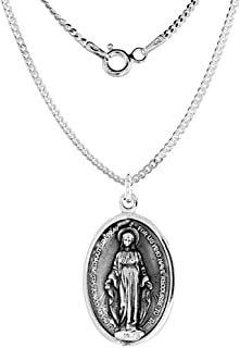Sterling Silver St Catherine Laboure Medal Necklace Oval 1.8mm Chain