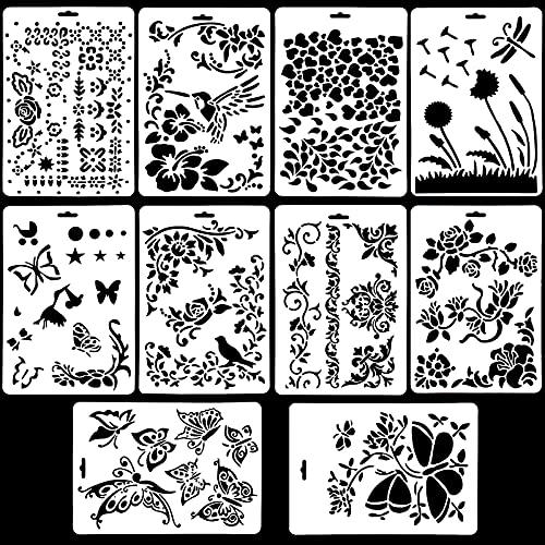 10 Stück Schablonen Blumen, Schablonen Set Kunststoff Malschablonen Zeichenschablonen Journal Schablone Zeichnung Malerei Vorlage für DIY Geschenkkarten Tagebuch Scrapbooking