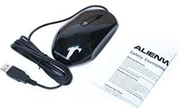 Genuine Alienware KKMH5, MODMUO USB Wired Scroll Wheel Laser Black Glossy Gaming 3-Button 1200 DPI Mouse Part Numbers: KKM...