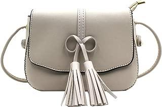 Women Girls Fashion Bowknot Crossbody Shoulder Bag with Tassel Soft Leather Sling Bag Satchel