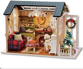 comprar comparacion Bricolaje Kit de casa de muñecas en miniatura de Navidad, Cabina realista Mini 3D Casa de madera Habitaciones Artesanía co...