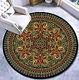 N / A Tapis Rond de Salon Tapis de Style Ethnique bohème Mandala Tapis Rond en Nylon-Style 30_140cm de diamètre