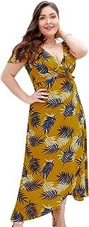 Dress for Women's Plus size Empire Waist Dress Wrap Midi Dress Casual Slip Dress …
