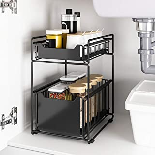 ZYHA Organisateur sous évier,tiroir Coulissant,empilable sous l'évier,avec tiroir à Panier Coulissant pour Cuisine et Sall...