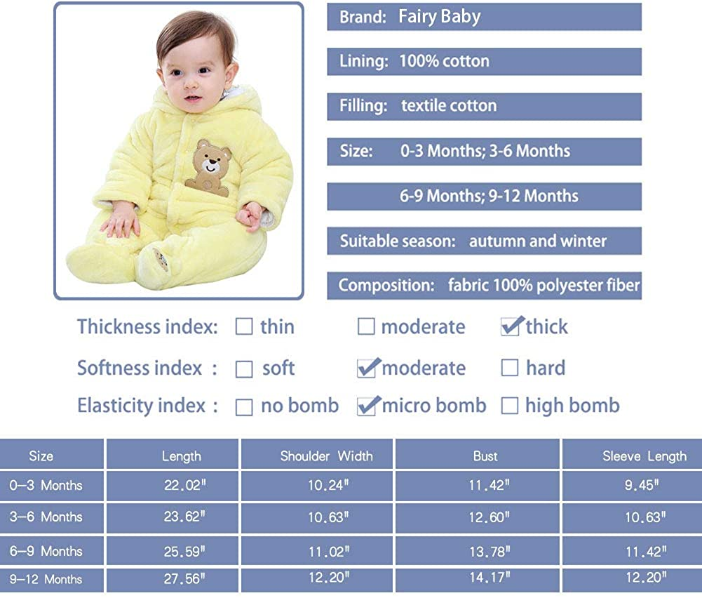 Fairy Baby Baby Snowsuit Newborn Infant Baby Hooded Romper Fleece Snowsuit Cartoon Jumpsuit Fall Winter Outfits 0-12M Brown