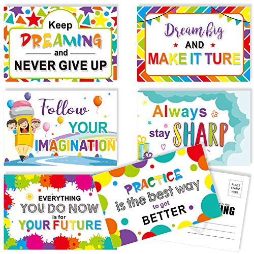 60 Pieces Motivational Teacher Postcards, Thinking of You Encouragement Inspirational Quote Cards for Students, Back to School Note Card, 6 Designs
