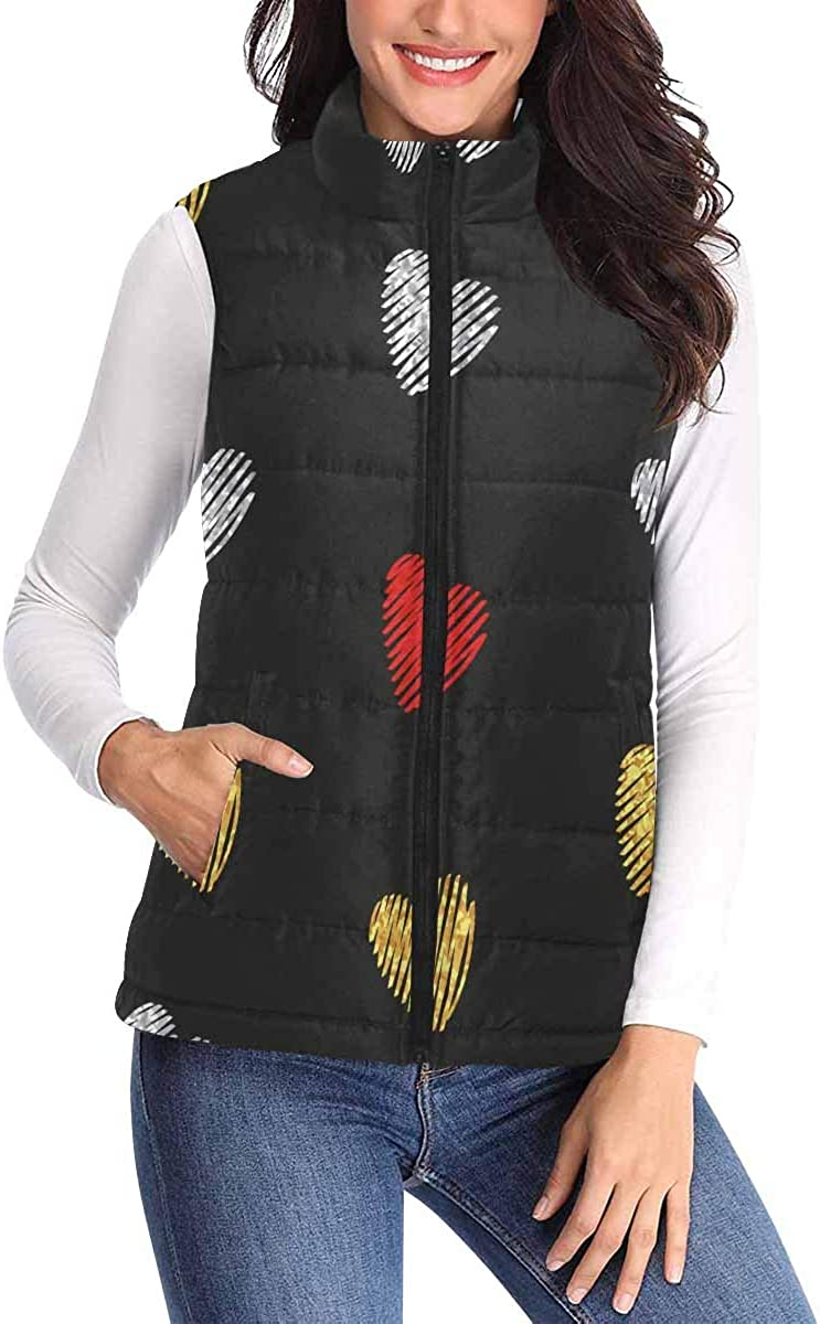 InterestPrint Women's All Over Print Padded Vest with Big Pocket and Zipper Golden Striped Hearts on Dark