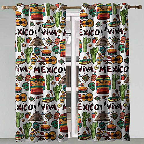 Printed Curtains Mexican Viva Mexico with Native Elements Poncho Tequila with Salsa and Hot Peppers Image Multicolor Nursery Curtains 72x84 Inch