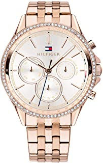 Tommy Hilfiger Women'S Silver White Dial Ionic Plated Carnation Gold Steel Watch - 1781978
