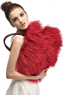 Finiluo luxury real lamb fur/mongolian fur beach wool fur bag handbag