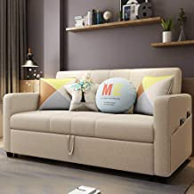 Convertible Sofa Couch Sleeper Multi-Functional Adjustable Recliner, Sofa, Bed, Linen Fabric Reclining Sofa with Storage A...