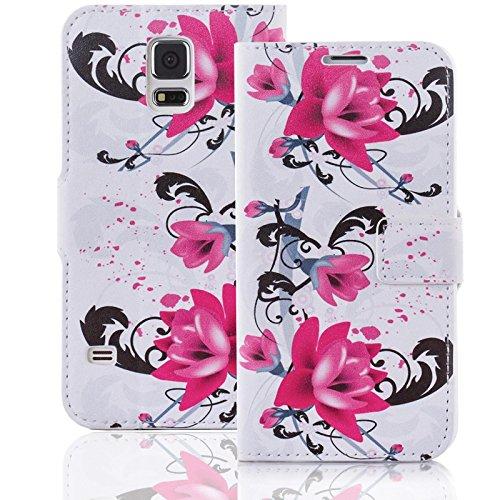 numerva Handyhülle kompatibel mit HTC Desire 500 Hülle [White Flower Muster] Hülle HTC Desire 500 Handytasche